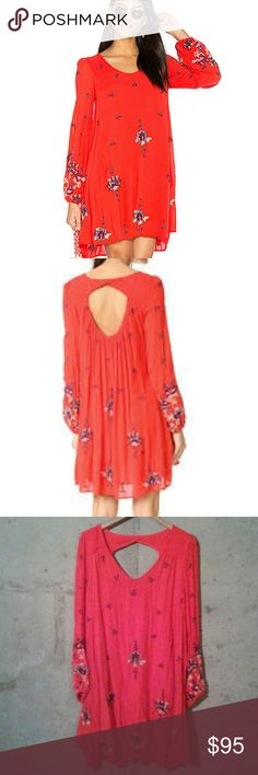 Free People Embroidered Mini Dress NWT. Red combo. Is lined and has pockets. Oversized silhouette.  Really cute over leggings too! Free People Dresses Mini