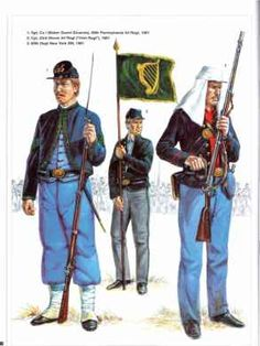 Left to Right-- 69th PA, 23rd IL, & 69th NY Infantry  Irish-American Union Regiments