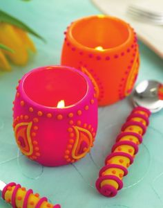 brightly coloured polymer clay candle holder
