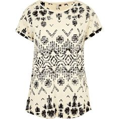 River Island Cream All Over Aztec Print T-Shirt ($11) ❤ liked on Polyvore