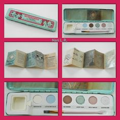 """1969 Glimmerick Paint Box by Yardley. """"Six wild water color eye shadows that work magic...change moods...give you more luvly looks than he can wink his eye at..."""" Still has the original paper sleeve cover and booklet that gives various """"look"""" ideas! Sold for $69 in 2015."""