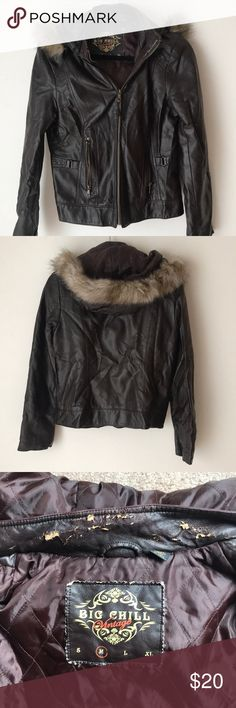 """Vegan Leather Jacket with Hood Size medium vegan leather jacket with faux fur hood. In great condition he only wear is around the neck area. Shown in the photo. Size medium. I am 5'7"""" and it hits around my waist. The hood can be completely removed as well as the fur. Kept in a smoke free home Big Chill Jackets & Coats"""
