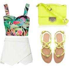 Summer 2014 trend tropical crop top/asymmetric skirt/neon yellow sandals♥♥♥♥♥♥♥♥♥♥♥♥