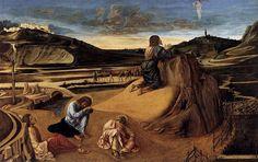 Artist             [show]Giovanni Bellini (1430–1516)                                                                                           Title       Deutsch: Christus am Ölberg     Polski: Chrystus na Górze Oliwnej         Date     circa 1465         Medium     color on wood         Dimensions     Height: 81 cm (31.9 in). Width: 127 cm (50 in).