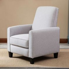 Gray Cotton Upholstered Club Chair Living Room Recliner