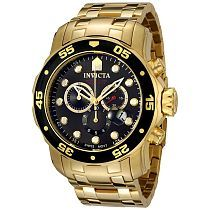 Invicta Men's 0072 Pro Diver Collection Chronograph 18k Gold-Plated Watch (0072)