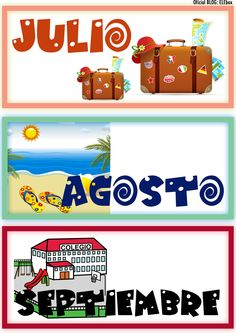 Los meses del año. Julio, Agosto y Septiembre Spanish Teaching Resources, Spanish Lessons, Learning Spanish, Preschool Lesson Plans, Borders For Paper, School Items, Classroom Language, Spanish Classroom, Hands On Activities