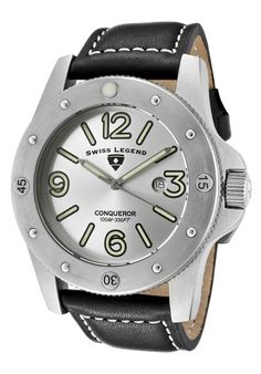 Men's Conqueror Black & Silver Watch by Swiss Legend Watches at Gilt Cool Watches, Watches For Men, Fine Watches, Men's Watches, Brand Name Watches, Black Leather Watch, My Collection, Stainless Steel Case, Black Silver