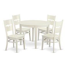 East West Furniture BORO5-WHI-W 5 Piece Small Kitchen Table and 4 Dining Room Chairs Dinette Set for 4 People