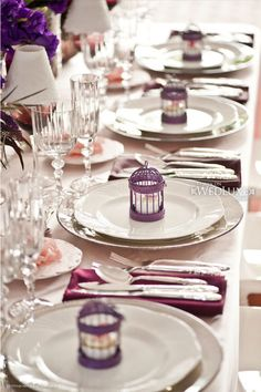 Our mini birdcage favors - painted purple! http://notables.weddingstar.com/product/mini-personalized-streamer