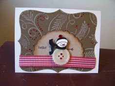 For today's Color Challenge:  Very Vanilla, Soft Suede, and Basic Black, with any color bling...for dessert!  LOVED this one, Betty!  I used PTI's Holiday Button Bits to make the snowman.  Soft Suede cut with SU Top Note Die was a gift from Krischir!  Background is Flourish Pine from Hero Arts.