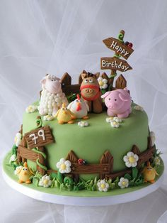 Farm Animals Cake - Cake by Marlene - CakeHeaven - CakesDecor Farm Birthday Cakes, Animal Birthday Cakes, Farm Animal Birthday, Baby Cakes, Cupcake Cakes, Fondant Cakes Kids, Cupcake Recipes, Farm Animal Cakes, Farm Animals