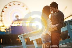 Romantic Couple At Santa Monica Sunset Stock Photography - Image: 34833582