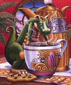 Morning Coffee ~ Art of Randal Spangler Love the dragon! I Love Coffee, Coffee Art, Coffee Drawing, Fresh Coffee, Magical Creatures, Fantasy Creatures, Fairytale Creatures, Fantasy Dragon, Fantasy Art