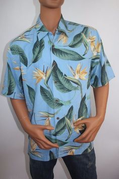 Jamaica Jaxx Men's Hawaiian Shirt (Size L) Moon Light - 100% Silk $ 95 #JAMAICAJAXX #Hawaiian