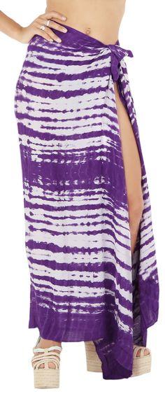 c2f9fb726f LA LEELA Rayon Beach Pareo Sarong Bikini Cover up Tie Dye 78