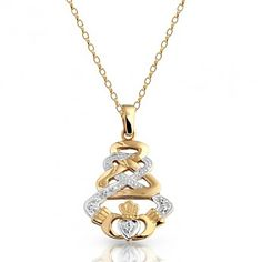 Gold CZ Claddagh Pendant with Celtic Knot Design and studded with Pave stone setting. Celtic Knot Designs, Claddagh, Knots, Pendants, Pendant Necklace, Chain, Stone, Diamond, Gold