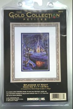 Splendor At Night Gold Collection Petites Dimensions Cross Stitch Kit 8677 5x7 #DimensionsTheGoldCollectionPetites #CountedCrossStitchKit
