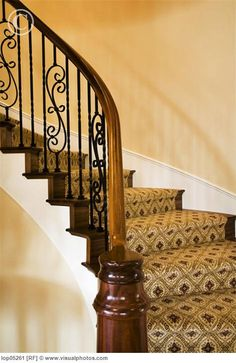 Want to remodel our front staircase, which has an unappealing light wood banister and light gray wrought iron railing. This pic is more of what I have in mind-- darker wood and black wrought iron. Undecided about whether to have all-wood stairs or wood-carpet combo.