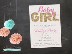 Baby Shower Invitation - Pink & Gold Glitter on Etsy, $15.00