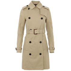 Michael Kors Coats - Trench Coat Khaki - in beige - Coats for ladies (20.835 RUB) ❤ liked on Polyvore featuring outerwear, coats, beige, brown waist belt, brown coat, brown trench coat, collar coat and button coat