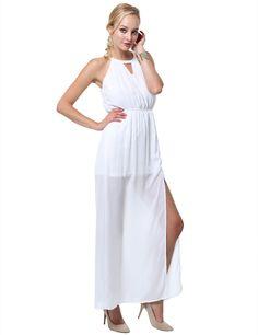 Halter Top Chiffon Maxi Dress With Side Slit #11foxy