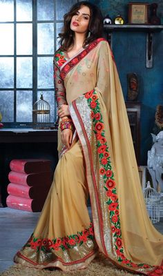 Become an enchanting mystery dressed in this beige color bamberg embroidered sari. The charming butta and zari work in the course of sari is awe-inspiring. Upon request we can make round front/back neck and short 6 inches sleeves regular saree blouse also. #LatestButtercreamBeigeColourfulEmbroideredSari