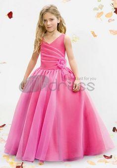 Ball gown V-neck floor-length satin organza flower girl dresses