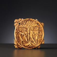 Miror Case  with the representation of two stages of love   ivory   North-France, about 1350-1375