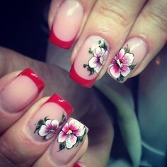 ❤️ Hot Nail Designs, Flower Nail Designs, Hot Nails, Hair And Nails, Floral Nail Art, French Tip Nails, Manicure E Pedicure, Fabulous Nails, Flower Nails