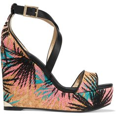 78acf749512 Jimmy Choo Portia Embroidered Cork And Leather Wedge Sandals - Black -  ShopStyle