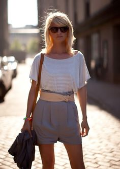 love the shorts with belt and plain white t