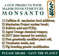 Monsanto - SHARE & RE-TWEET - Save The Planet