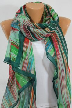 NEW SEASON Multicolor Scarf Green Scarf Summer Scarf  Light Weight Scarf Gift For Her Womens Scarves St. Patrick's Day ESCHERPE on Etsy, $20.99