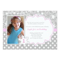 Girl's 1st Birthday Party Invitations Winter ONEderland 1st birthday invitation