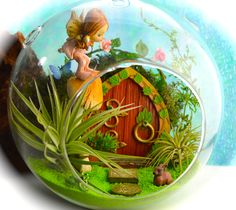 "Fairy Garden Terrarium Kit  ~ Fairy Door ~ Fairy on a Mushroom ~ 8"" Globe ~ Rabbit and Frog ~ Moss ~ 2 Air Plants ~ Terrarium Kit ~ Gift by BeachCottageBoutique on Etsy"