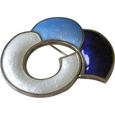 Abstract  Blue + White Enamel on Sterling Pin by J. Tostrup Norway