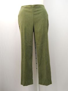 SIZE 14 Womens Dress Pants Calabria ALFRED DUNNER Solid Olive Proportioned Short #AlfredDunner #DressPants