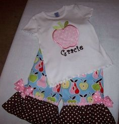 Apple and Pears Applique Monogram Capri or Pants Set
