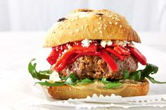 Try this speedy Mediterranean burger for a simple weeknight meal.