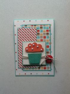 Stampin up birthday card using retro fresh paper in colour ink and cupcake stamp
