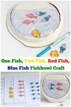 Cute Fishbowl craft -inspired by Dr. Seuss's One Fish, Two Fish Red Fish, Blue Fish.  Great Kindergarten/Preschool Craft via @sightsoundread