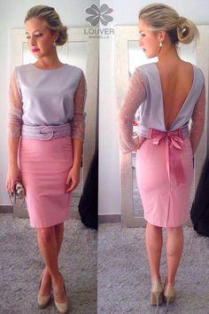 Buenas chic@s!! La combinación rosa&plata nos enamora, por ello os proponemos nuestra blusa Beatriz con mangas de plumeti y falda Fabiola, completamos el look con cinturón de cordón de seda en las mismas tonalidades!! Disponible en nuestro showroom!!  #louvermarbella#faldafabiola#blusabeatriz#look#mode#moda#putfit#rosayplata#rosa#plata#gris#malaga#showroom#nice#cute#elegant#invitadaperfecta#back#pretty Dress Outfits, Cool Outfits, Fashion Outfits, Runway Fashion, Fashion Models, Womens Fashion, Short Dresses, Summer Dresses, Lace Dresses