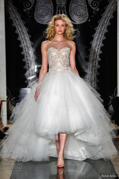 reem acra bridal spring 2014 wedding dresses xylia embroidered illusion drop waist gown full tulle skirt... Ah, the mullet of wedding dresses... It screams I am a redneck, and I love it.
