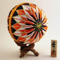 Temari Ball Yaguruma Design by NavAndFets on Etsy Japanese Embroidery, Japanese Fabric, Embroidery Art, Japanese Art, Japanese Toys, Temari Patterns, String Crafts, Flower Ball, Lilo And Stitch