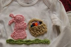 Vet School Widow; Free Crochet Applique Pattern -  Crochet Easter Bunny and Crochet Easter Basket sewed onto 18 month onesie.