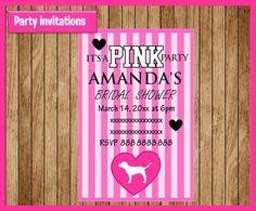 Victorias Secret Pink Invitation Printable by myboutiquepartyfl
