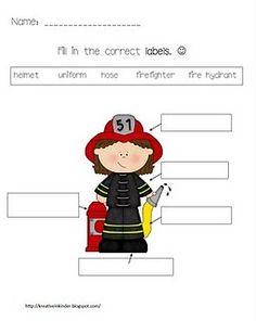 Fire Safety activities: Kreative in Kinder: Label a firefighter. Community Helpers Kindergarten, Kindergarten Social Studies, School Community, Kindergarten Writing, Literacy, Community Workers, Kindergarten Freebies, Kindergarten Centers, Childhood Education