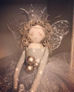 Exquisite handmade fairy doll gifts for all occasions by FabulousFairyFactory Christmas Tree Fairy, Christmas Crafts, Christmas Decorations, Christmas Ornaments, Garland Hanger, Felt Fairy, Clothespin Dolls, Tiny Dolls, Doll Hair