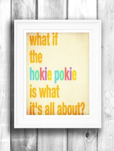 Hokie pokie poster typographic print by HappyLetterShop on Etsy, $40.00